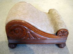 A very fine Regency period solid rosewood foot stool, with crisply carved decoration and original feet. After designs in Ackermann's Repository. Circa 1815.