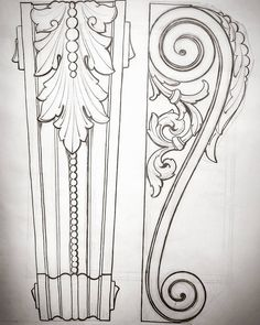 Wood Carving Ideas For a Rustic Home Decor – Design and Decor Wood Carving Designs, Wood Carving Patterns, Wood Carving Art, Wood Art, Sculpture Ornementale, Ornament Drawing, Wood Architecture, Classical Architecture, Arabesque