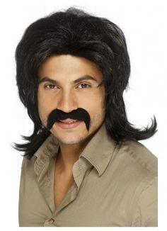 70's Male Black Retro Costume Wig 70's Retro Wig, Black, Fringed. Perfect for your 1970's costume theme.  You will love how you look and feel wearing this quality costume wig. www.thewigoutlet.com.au
