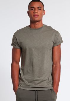 Topman MUSCLE FIT - T-shirt basic - khaki/olive - Zalando.it