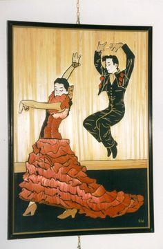 Flamenco dancers, made of wheat stems