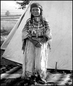 Salish girl, Angelic Lamoose, daughter of Joe Lamoose, in native regalia. Photographed September, 1913.