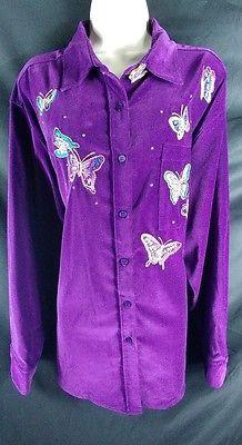 Quacker Factory NEW Purple Velvet Butterfly Button Down Shirt Plus Size 2X