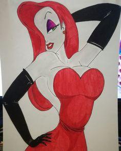 Jessica Rabbit #jessicarabbit #rogerrabit #tinta #ink #rotuladores #feltpens #gouache #ilovemywork