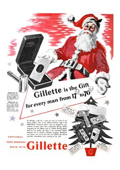 Vintage Gillette Aristocrat Junior and Gillette Tech Set No 27 Christmas razors gift sets advert reproduction print. The original advert is from a magazine dating back to Gillette Advertising, Gillette Ads, Gillette Razor, Vintage Advertisements, Vintage Ads, Christmas Adverts, Barber Shop Decor, Magazine Advert, Wet Shaving