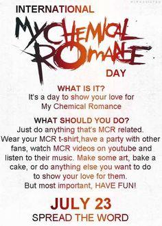 July 23 INTERNATIONAL MY CHEMICAL ROMANCE DAY