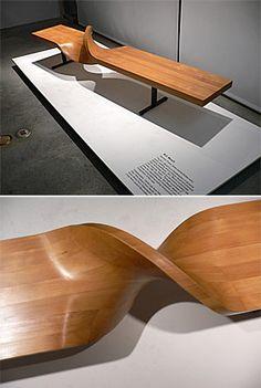 Zachary Fluker: Gorgeous twisting wood bench