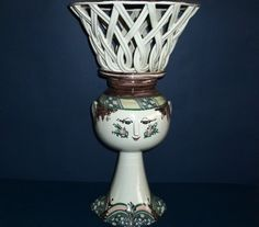 VERY LARGE & RARE CENTREPIECE WITH WICKER BASKET BY BJORN WIINBLAD: STUDIO WORK