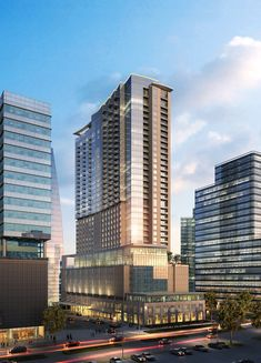 This high-density, mixed-use project will include an office tower adjacent to a apartment/hotel. The office portion will be a Houston Architecture, Architecture Design, Minecraft Skyscraper, Mixed Use Development, Mix Use Building, Urban Design, Washington Dc, Facade, Buildings