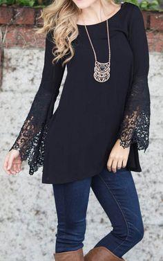 Pinkblush Black Crochet-Trim Tunic