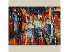 ORIGINAL Melody of the Night 40x30 Oil Painting Palette Knife Textured HUGE Cityscape Night Rainy Couple Reflection Music ART by Marchella