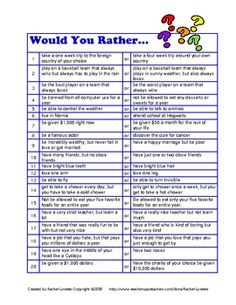 FREE Would You Rather Questions for Kids!
