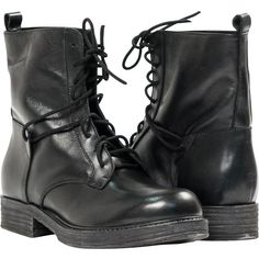 """PAOLO IANTORNO Erin Black """"Nero"""" Leather Combat Boots (365 CAD) ❤ liked on Polyvore featuring shoes, boots, ankle booties, botas, black, black leather ankle booties, black military boots, lace up booties, leather lace up boots and military boots"""