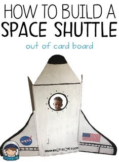 How to build a cardboard space shuttle or rocket ship for outerspace theme for a dramatic play center or pretend play. Great for preschool and kindergarten, homeschool or classroom. Space Theme Classroom, Space Theme Preschool, Space Activities For Kids, Preschool Activities, Preschool Plans, Preschool Centers, Preschool Learning, Classroom Decor, Space Projects