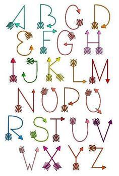 Geometric alphabet - Fonts - Ideas of Fonts - Arrows font machine embroidery design. Alphabet Design, Hand Lettering Alphabet, Doodle Lettering, Lettering Styles, Doodle Fonts, Cute Fonts Alphabet, Doodle Alphabet, Lettering Fonts Design, Writing Styles Fonts