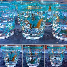 #Vintage #MidCenturyModern #BarGlass Set W/ #Turquoise #Gold #AsianWarrior #Design -Info @ www.RocketCentury.com