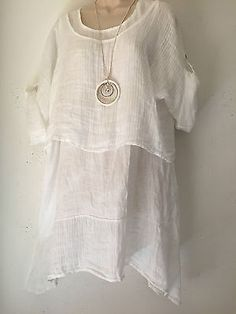 Quirky Lagenlook-2 Pce Linen - A-Symmetric hem tunic top- O/S 12-14  White
