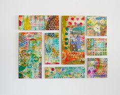 Collection of Small Abstract Paintings - Hangs without Nails - Perfect for Dorm Rooms by SunshineOnCanvas on Etsy