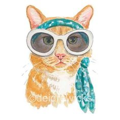 Orange Cat Watercolor PRINT 8x10 Cat Illustration, Nursery Art, Ginger... ❤ liked on Polyvore featuring home, home decor, wall art, orange wall art, orange home accessories, watercolor wall art, cat home decor and water color illustration