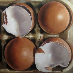 """Two Cracked"" - Original Fine Art for Sale - © Michael Naples Painting Still Life, Still Life Art, Juan Sanchez Cotan, Life Drawing Classes, A Level Art, Realistic Paintings, Egg Art, Photorealism, Everyday Objects"