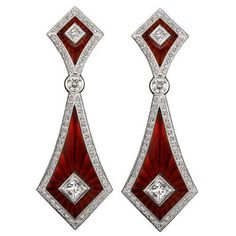 Jack Kelege's Red Enamel and diamond earrings, set in white gold