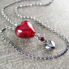 Red Heart Pendant Necklace Sterling Silver by DorotaJewelry