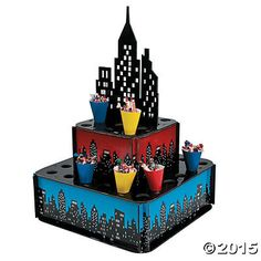 Add this cityscape black, red, and blue treat stand to your Superhero decorations for an epic table. This treat stand is easy to assemble and is 2-tiered to hol