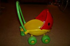 This was at my Grams !!!! Vintage lil lady Ladybird Ladybug Playskool Dolls Pram Buggy Pushchair Stroller