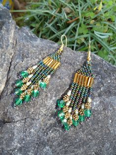 Beaded Earrings Emerald Fall by GemRio on Etsy, $24.00