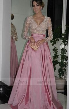 Evening Dresses Fashionable Long Evening Gowns With 3/4 Sleeves Beaded Lace Appliques Chiffon Purple Red Reception Dress Party Wear Dresses