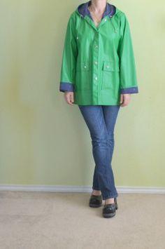 Vintage 80s Green Raincoat blue Unicorn by SittingKittyVintage, $39.99