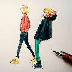¤EN¤ Two characters I sketched to try my new brush. I love my new brush. As for the characters, I guess they could be sibilings? I don't really know, but I like her coat. ¤SP¤ Sigo con las acuerelas. Me ha dado por ahí. Estoy intentando hacer colores más opacos, lo cual es absurdo porque son acuarelas, es agua, el agua es transparente. Pero no importa, porque tengo un nuevo pincel y me lo paso muy bien usándolo. #drawing #sketch #watercolour #acuarela #ilustración #illustration… Guess, Dado, Disney Characters, Fictional Characters, Love, Drawing, Illustration, Instagram Posts, See Through