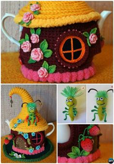 #Knit Fairy House Teapot Cozy Cover Pattern Free-Crochet Knit Tea Cozy Free Patterns  #Kitchen