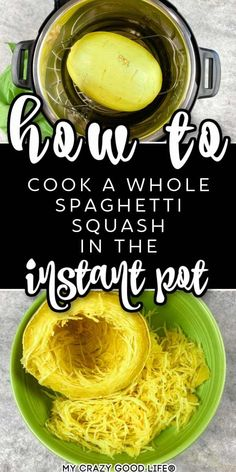 I love cooking whole Spaghetti Squash in the Instant Pot! It's easier to cut after it's cooked, and it only takes about 10 minutes under pressure! This method can be used for any electric pressure cooker. #instantpot #spaghettisquash #healthy #healthyeating #instapot