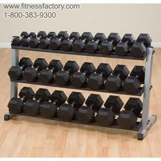 Body-Solid 3 Tier Heavy Dumbbell Rack - GDR603T  Keep your workout area organized, clean and, most importantly, safe. Our weight trees and dumbbell racks can be placed against any wall or centered in a room. Nobody builds stronger or more space efficient storage units.