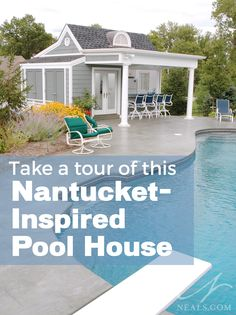 Take a tour of this Nantucket-Inspired Pool House, located in Mount Washington, Ohio. | Project by Neal's Design Remodel www.neals.com