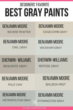 Find the best light gray paint colors for your neutral home palette! See Sherwin Williams gray paint colors and Benjamin Moore best gray paint colors compared including pale oak, balboa mist, classic gray and edgecomb gray! Interior Paint Colors For Living Room, Paint Colors For Home, House Colors, Interior Painting, Paint Colors For Basement, Farmhouse Paint Colors, Interior Modern, Interior Simple, Luxury Interior