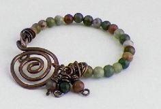 Jasper and Copper Spiral Bracelet