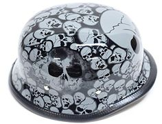 Gray Skull Graveyard German Novelty Motorcycle Helmet (Size 2XL, XX-Large). German gray graveyard novelty motorcycle helmet with skulls. Fiberglass shell, Padded lining for comfortable fit. Nylon Y-strap retention system and adjustable quick release chin strap. Steel rivets secure Y-strap to shell, novelty helmets do not meet D.O.T. standards. How to measure for a motorcycle helmet. Use a fabric tape measure and measure the distance around your head just above your eyebrows. Then select a...