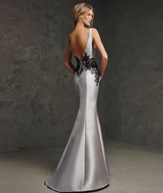 Evening Dress, Grey/Silver Mermaid Black Lace Appliqued Satin  Evening Dress/Formal Dress image 2