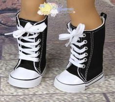 """Canvas Lace-Up Knee High Sneakers Shoes Boots Black for 18"""" American Girl doll"""