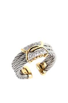 Charriol Celtique Two-Tone Pave Diamond Interlocking Center Cable Ring - 0.09 ctw.  LOVE!