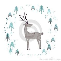 Deer in winter pine forest  on white. Hand drawn design for Christmas and New…