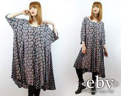 #Vintage #90s Black Floral Mini Dress, fits 2X/3X by shopEBV http://etsy.me/1pAHGtY via @Etsy #grunge #fashion #style #plussize, $58.00