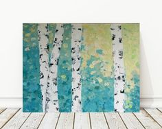 abstract birch tree painting original acrylic on by SWhalenArt