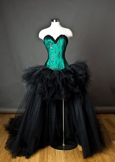 Custom Size Black and Emerald Green lace Burlesque Corset Dress short in the front long train in the back available in S-XL