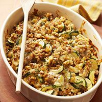 great idea for using farm stand or garden zucchini! ::: Zucchini-Sausage Casserole