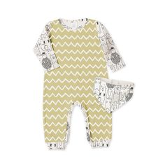 Baby Boy Romper & Bandana Bib, Baby Boy Outfit, Woodland Animals Zig Zag, Baby Outfit, Baby Take Home Outfit Gift, Tesa Babe
