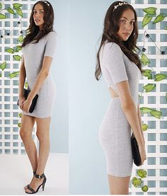 Scarlet-Cut-out-Back-Dress-grey bodycon • party • heels • clutch   | f r e e   p o s t  | With figure flattering ribbed fabric you can ensure a sexy silhouette.