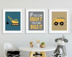 Bulldozer Print in Black And White For Boy Room Decor Construction Theme Bedroom, Boys Construction Room, Construction Birthday Parties, Construction Business, Construction Design, Bedroom Themes, Nursery Themes, Nursery Wall Art, Bedroom Ideas